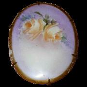 Vintage Handpainted Roses Porcelain Brooch Pin