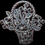 REDUCED Vintage Sterling Silver Basket Pin Brooch