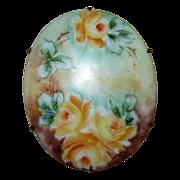 Vintage Handpainted Porcelain Floral Brooch Pin