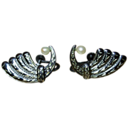 Vintage Sterling Silver Screw Back Earrings with Pearls