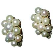 REDUCED Vintage Cultured Pearl Cluster Clip Earrings