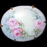 Vintage Hand Painted Floral Porcelain Brooch Pin