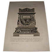 REDUCED Antique Italian Engraving by Giovanni Piranesi
