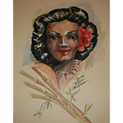 "REDUCED Vintage ""Tamina"" Tahiti Drawing by John Flocken"