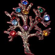 Vintage Multicolored Rhinestone Sterling Silver Tree Pin Brooch