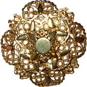 Vintage Florenza Signed  Costume Jewelry Pin Brooch