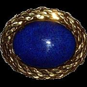 Vintage Cobalt Blue Goldstone Brooch