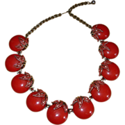 REDUCED Vintage Retro Red Choker Necklace 1950's