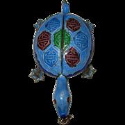 REDUCED Vintage Enameled Turtle Silver Pendant