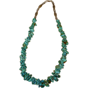 Vintage Beaded Turquoise Sterling Silver Necklace