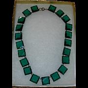Vintage Art Deco Green Glass Choker Necklace