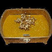 SOLD Vintage Gold Plated Footed Vanity Dresser Box