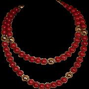 SALE Vintage Red Jasper Beaded Necklace