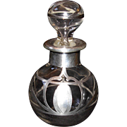 Vintage Silver Overlay Perfume Bottle with Stopper