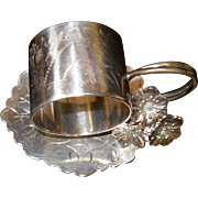 SOLD Antique Silver Plated Floral Napkin Ring