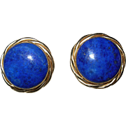 SALE 14kt Gold & Blue Lapis Pierced Earrings