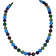 SALE Colorful Beaded Turquoise & Lapis Gemstone Necklace