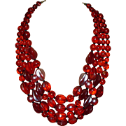 SALE Vintage Red Glass Beaded Necklace Western Germany