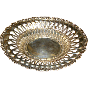 Lovely Old Pierced Ornate Sterling Silver Oval Bowl