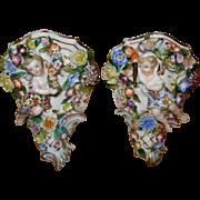 Antique German Porcelain Pair of Shelves Sitzendorf Mark 1887-1900