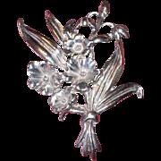 REDUCED Vintage Sterling Silver Floral Pin / Brooch