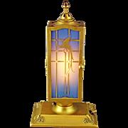 SALE DeVilbiss Art Deco 2 Door Blue Perfume Lamp with Gold Parrots