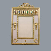 French  Bronze Egyptian revival Jeweled Picture Frame