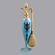 SALE DeVilbiss Deluxe Cambridge Glass Azurite Perfume Atomizer