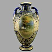 SALE Nippon Cobalt & Gold Swan Scene Urn,