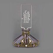 SALE Czech Art Deco Intaglio Cut Jeweled Perfume Bottle