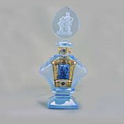 SALE Czech Art Deco Jeweled Intaglio Cut Perfume Bottle