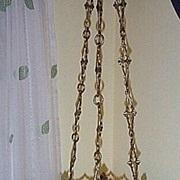 SOLD Late 19c. Gothic Style Brass Hanging Sconce