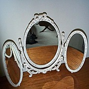 SOLD Three Part Oval Vanity Mirror