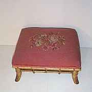 Late 19c. Pink Needlepoint Footrest with Floral Design