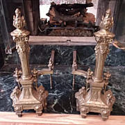 Cast Brass French Style Andiron ca.1920-30