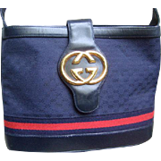 Iconic Gucci Blue Shoulder Bag.  1980's.