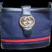 Iconic Gucci Blue Shoulder Bag.  1980's.