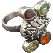 Vintage Sterling Ring With Semi-Precious Stones.  Ethnic Style.