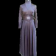1970's Black Slinky Knit Rhinestone Gown.