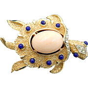 Trifari Turtle Pin with Faux Coral and Lapis. 1960's.