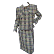Chanel Boutique Vintage Wool and Silk Knit Suit.  US Size: 14