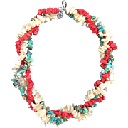 Turquoise,Coral, and Mother of Pearl Torsade Necklace.