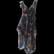 Ossie Clark Romantic Floral Tea Dress. 1970's. Rare.