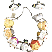 Toshikane Seven Lucky Gods Japanese Set. Porcelain and Silver. 1940's.