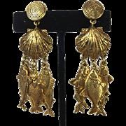 Gorgeous Yves Saint Laurent Fish Earrings. 1990's.