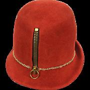 Yves Saint Laurent Museum Quality Zippered Felt Hat. Mod. 1960's.