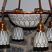 SOLD Early 1900's Brass with Leaded Slag Glass Light Fixture -FREE SHIPPING USA