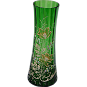 SOLD Bohemian Green Blown  Glass Vase with Enamel Floral Design