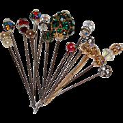 SOLD Vintage Rhinestone Enhanced Hat Pins