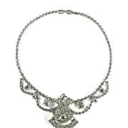 SALE Crystal Rhinestone Large Center Motif Necklace